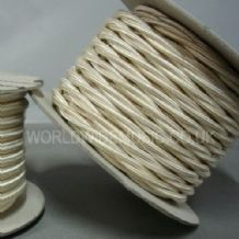 TWIST 2 Core Braided Fabric Cable Lighting Lamp Flex Vintage - CREAM